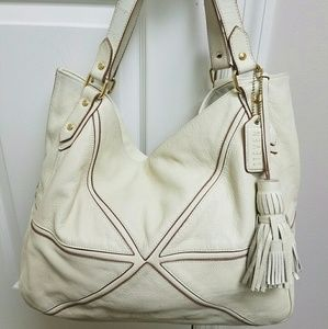 Steven Steve Madden Cream Leather Large Tote Bag